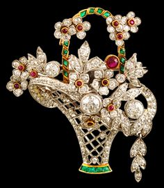Daimond Ruby & Emerald Basket Pin