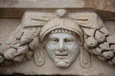 Turkey, Aphrodisias, Sebasteion, Theatrical Mask Relief Photographic Print-Afrodisyas (Aphrodisias) Müzesi.AYDIN GERVE TÜRKİYE