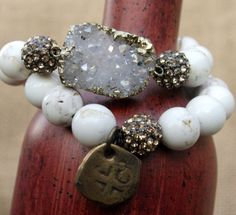 White agate 2 bead bracelet set gold dipped by chicsistersdesigns, $75.00