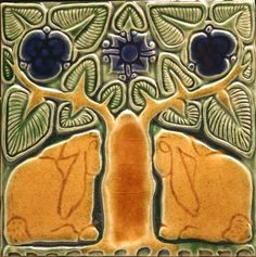 North Prairie Tileworks makes many beautiful Arts & Crafts tiles from pure geometrics to bunnies in the woods.