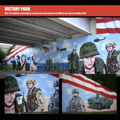 150' x 24' mural created for the Victory Park 90 year anniversary.