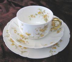 Vintage Porcelain Tea Trio Haviland Limoges Art by TheWhistlingMan