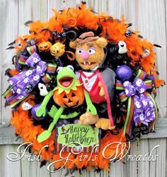 Irish Girl's Wreaths | where the difference is in the details » Kermit the Frog and Fozzie Bear Muppet Halloween Wreath