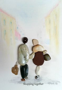 Shopping together Pebble art by Hara
