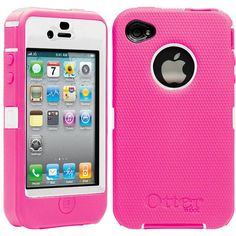 IPHONE 4 4S OTTERBOX PINK ON WHITE!