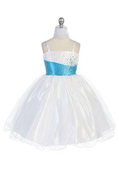 White/Turquoise Tulle Short Flower Girl Dress with Sparkles CD-595-TQ $74.95 on www.GirlsDressLine.Com