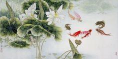 112.33 КБ Lotus Art, Memoirs Of A Geisha, Chinese Painting, Chinese Art, Traditional Chinese, Asian Art, Bloom, Pretty Fish