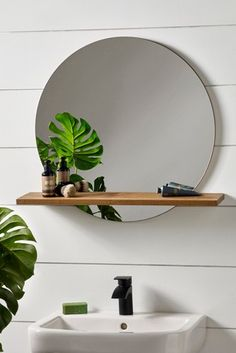 Buy Bronx Mirror With Shelf from the Next UK online shop Bathroom Mirror With Shelf, Oak Bathroom, Round Wall Mirror, Round Mirrors, Bathrooms, Bathroom Ideas, Cheap Beach Decor, Cheap Home Decor, Toilet Shelves