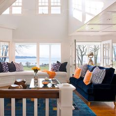 Coastal Living Room Design Ideas, Pictures, Remodel, and Decor