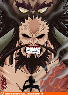 Kaidou One Piece, One Piece Drawing, Devian Art, Monkey D Luffy, Emperor, Attack On Titan, Pirates, Beast, Anime Art