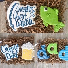 Fish Cookies, Crazy Cookies, Iced Cookies, Cute Cookies, Royal Icing Cookies, Sugar Cookies, Fathers Day Cake, Fathers Day Crafts, Set Cookie