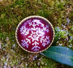 Snowflake brooch Engraved glass pin Red bronze brooch by IceWorks
