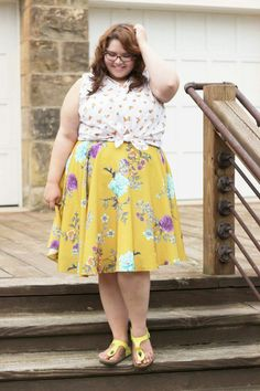 Angela mixes sunny shades and playful prints! Plus Size Fall Outfit, Plus Size Intimates, Full Figured Women, Plus Size Skirts, Fashion Gallery, Modcloth, My Style, Indie Style, Plus Size Fashion