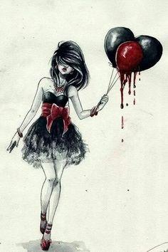 Blythe Gothic punk scary bloody crown thorn bleeding heart skull dress set.