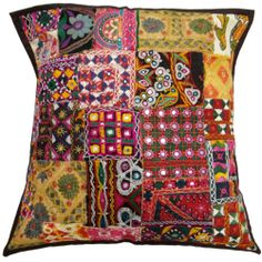 """Multicolor Kutch Embroidered Pillow Cover Patchwork Mirror Work Cushion Case 24""""  -  Ebay $22.00"""