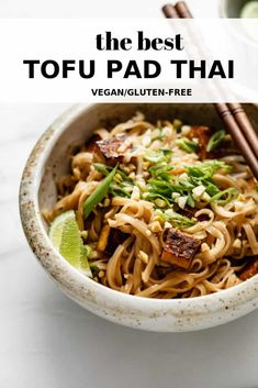 This authentic tofu pad Thai recipe is seriously the best! It's completely vegan and gluten-free for a simple noodle dish with bold Thai flavor! #padthai #veganrecipe