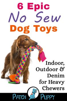 Make these 6 Epic No Sew Dog Toys – Indoor, Outdoor & Denim for Heavy Chewers and show your dog some love! Make these 6 Epic No Sew Dog Toys – Indoor, Outdoor & Denim for Heavy Chewers and show your dog some love! Homemade Dog Toys, Diy Dog Toys, Pet Toys, Small Dog Toys, Diy Chew Toys For Dogs, Puppy Chew Toys, Toy Diy, Small Dogs, Outdoor Dog Toys