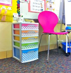 Kinder-Craze: Fancy Up Your Sterlite Drawers.  I hope I don't have to be a teacher to dress up my plastic storage bins like this... cause this would look awesome in soon-to-be-created craft room.  Too cute.  Thanks for pinning Myra.