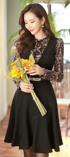 StyleOnme_Floral Jacquard Long Sleeve V-Neck Flared Dress #black #lacedress #falltrend #koreanfashion #seoul #kstyle #feminine #elegant #jacquard