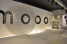 Raimond Light by Moooi: The hanging light is made up of spheres that carry the electrical current. The fixture is made from stainless steel and PMMA, (Poly(methyl methacrylate), a transparent thermoplastic often used as a glass substitute. Dandelion Light, Hanging Mason Jars, Modern Lighting Design, Industrial Lighting, Moooi Lighting, Exposed Beams, Loft Spaces, Lampe Led, Hanging Lights