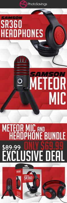 Samson Meteor Mic USB Studio Microphone, Limited Edition - Titanium Black/Red with Closed-Back Headphones Bundle Usb Microphone, Google Hangouts, Professional Audio, Audio In, Facetime, Headphones, Gaming, Content, Game