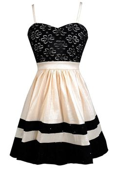Sparkle Floral Lace A-Line Dress in Black/Cream www.lilyboutique.com