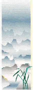 ROY LICHTENSTEIN  Landscape with Grass, 1996  Oil on magna on canvas  110 x 38 inches (279.4 x 96.5 cm)