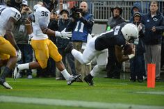 PENN STATE – FOOTBALL 2013 – BILL BELTON dives into end zone for Lions' first touchdown after catching 15-yard pass from Hackenberg.