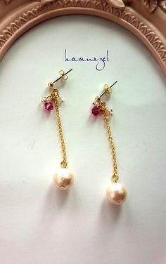 Pearl and crystal drop long earrings