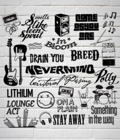 Nirvana songs classic rock poster it is just amazing. Logo Nirvana, Nirvana Quotes, Nirvana Art, Nirvana Songs, Nirvana Kurt Cobain, Nirvana Tattoo, Hard Rock, Music Rock, Little Bit
