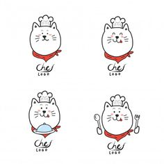 Chef Logo, Cute Cats, Vector Free, How To Draw Hands, Snoopy, Cartoon, Illustration, Logo Food, Vector Background