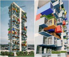 Rascacielos con contenedores marítimos apilados. Usando contenedores marítimos es posible configurar una sencilla torre de apartamentos que tiene 100 m de altura, y además con características sostenibles. La propuesta ha sido desarrollada por los arquitectos del estudio Ganti+Associates, y le ha valido el primer premio en un concurso internacional para Bombay, organizado por el sitio web SuperSkyScrapers.  #Arquitectura, #Contenedores