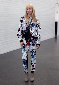 """Maija: """"I'm wearing a unique, custom-made outfit designed by me and Marimekko staff. I designed the print for the Together exhibition in Kiasma museum for contemporary art. The seamstresses at Marimekko made the jacket and the trousers for me."""""""