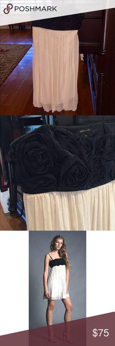BCBG black and cream dress Gorgeous BCBG black and cream dress. Black embellished flowers cover the top with optional straps. Worn once! BCBG Dresses