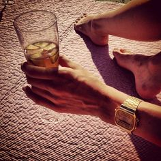 Gold Casio watch & Pimms