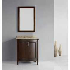 Belle Foret Sheba 30 in. Vanity in Cocoa with Granite Vanity Top in Speckled Beige-BF90223 at The Home Depot