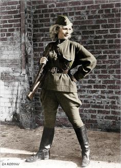 Colorized photos from WWII.  This one is of Russian sharpshooter Kyra Petrovskaya.