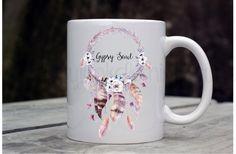 Gypsy Soul Mug - Dreamcatcher Print Mug - Gypsy Soul Cup - Boho Print Coffee Mug - Feather Print Coffee Mug - Boho Drink Ware - by GypsyJunkClothing