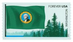 Pictures the state flag and evergreen trees.