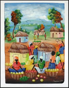 """Haitian Painting - Village Scene - 12"""" x 16"""" - See more at www.HaitiGallery.com"""