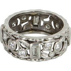 Vintage Art Deco 900 Platinum Diamond Sz 6.5 Eternity Ring Estate Fine Jewelry Heirloom