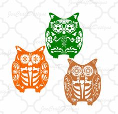 Sugar Skull Owl SVG File-Day of the Dead SVG File Halloween Fall Cutting File Set in Svg, eps, dxf and PNG Format for Cricut and Silhouette Sugar Skull Owl, Image Font, Halloween Owl, New England Fall, Scan And Cut, Svg Files For Cricut, Vinyl Designs, Projects For Kids, Cricut Design