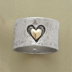 Heart And Soul Ring: A heart and soul band ring, marrying precious metals and textures, with a heart hand cast into our wide hammered sterling band framing another of smoothly finished gold. A Sundance exclusive in whole and half sizes 5 to Metal Jewelry, Jewelry Rings, Silver Jewelry, Jewelry Accessories, Metal Clay Rings, Jewelry Design, Fall Jewelry, Holiday Jewelry, Heart Jewelry