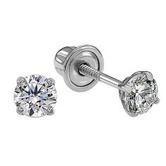 14k White Gold Solitaire Round Cubic Zirconia CZ Stud Earrings in Secure Screw-backs >>> Click image to review more details. (This is an affiliate link and I receive a commission for the sales)