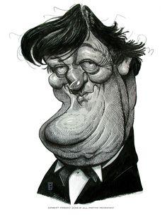 Caricatura del gran actor y cómico británico Stephen Fry, uno de los mejores humoristas del conocid...