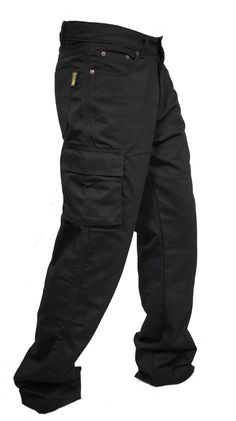 Newfacelook Men's Motorcycle Cargo Jeans Pants Reinforced with Aramid Fiber (W36 L32, black)