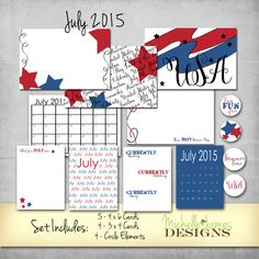 FREE July 2015 Kit for Project Life Pocket Pages - www.michellejdesigns.com