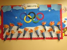 Sports Bulletin Boards, Christian Bulletin Boards, Special Olympics, Winter Olympics, Sports Day Decoration, School Wide Themes, School Ideas, Olympic Crafts, Olympic Idea