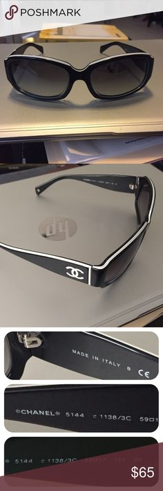 Chanel sunglasses. Authentic. No trades. See photos. Has a scratch on left lens. Great fashion statement and/or as a back up glasses.  No trades. No case -update:  I'm adding case but slight misalignment see last photo. Great value. CHANEL Accessories Sunglasses