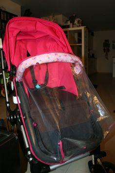 Selbstgenähter Regenschutz für den Kinderwagen - aus einem Duschvorhang, Schrägband und Kam Snaps